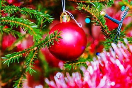 Christmas decorations on the Christmas tree Stock Photo