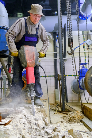 Builder with a hammer