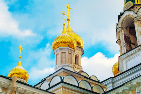 a beautiful old chapel with Golden domes in St. Petersburg