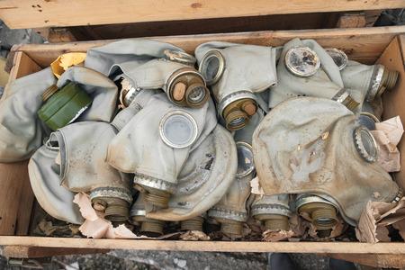gas masks in a box 免版税图像