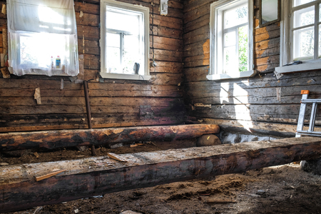 the floor construction in an old wooden house