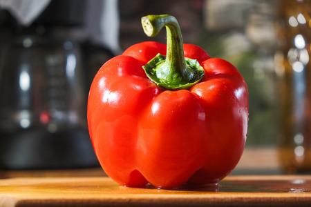 fresh red pepper on wooden cutting Board Reklamní fotografie