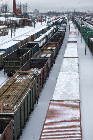 wagons at the marshalling yard in the winter Reklamní fotografie
