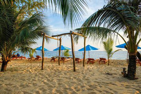 the sandy beach on phu quoc island