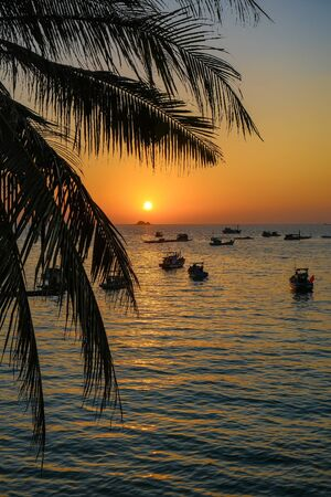 the wonderful sunset on phu quoc island