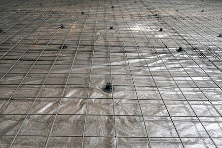 the mesh for reinforcement concrete slab in the garage 版權商用圖片