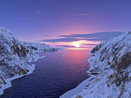 river among snow-bound mountains on sunset
