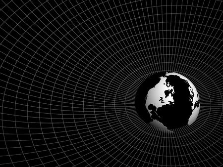 hemisphere of earth in surroundings a network on a black background Stock Photo - 870403