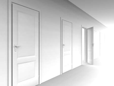 wall and opened door on a white background Stock Photo - 964698
