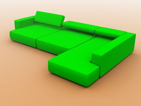 sofa in green tones on a gradient background Stock Photo - 2371019