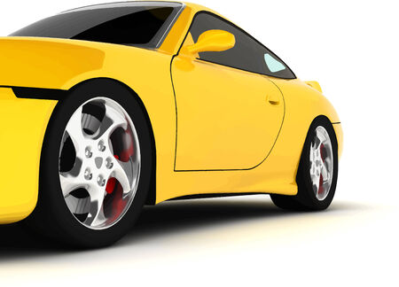 yellow car of sports type on a white background