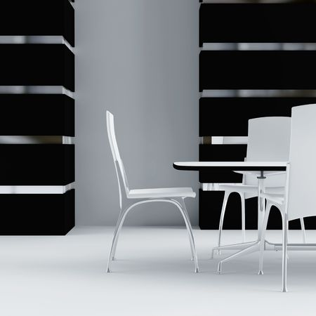 white table and chairs in the interior of modern room Stock Photo - 4552903