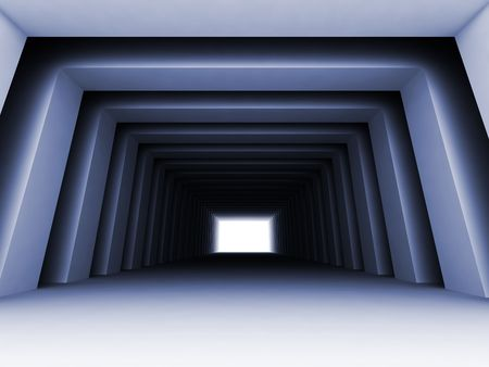 Turn of the shined corridor with columns and light making the way ahead Stock Photo - 4657023