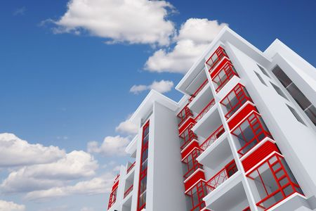 high modern residential building on a background sky and clouds 写真素材