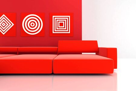 interior in red tones with a sofa and ornaments on wall Stock Photo - 5424343