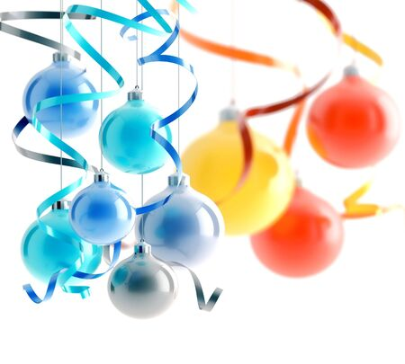 bright christmas decorations on a white background