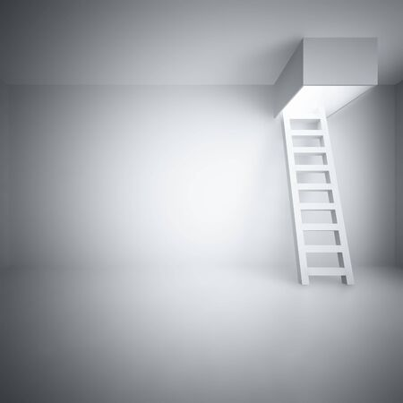 Ladder upwards in a light room Stock Photo - 7999980