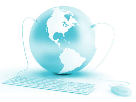 earth connected with keyboard and mouse on white background Stock Photo