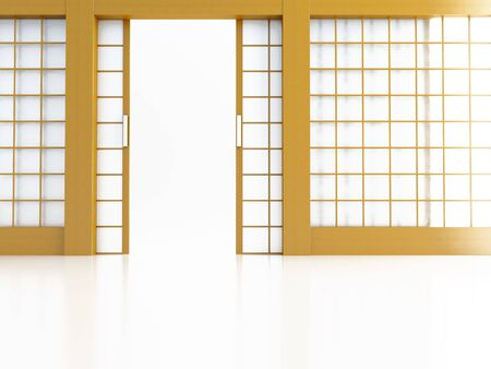 Open door in Japanese style on a white background Stock Photo - 8237765