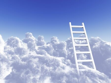 white stair rising in clouds on a background blue sky Stock Photo