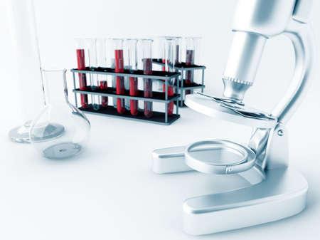 Mikroskop und Glas Reagenzgläser im Labor