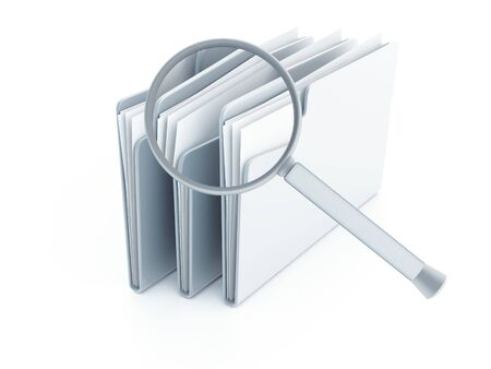 blue folders with papers under magnifier on a white background Standard-Bild