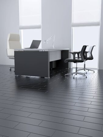 Empty office room with table and armchairs and light from windows