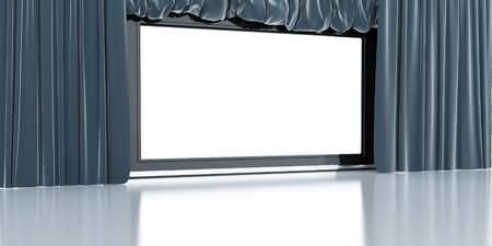 empty white modern screen with blue curtains around Stock Photo