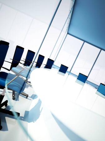 Lege vergaderzaal met afgeronde tafel en licht van windows Stockfoto