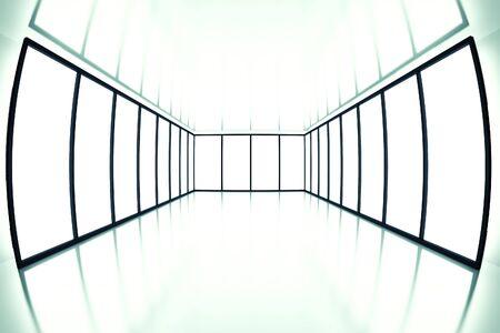 fish eye view on modern empty room with light from windows Standard-Bild
