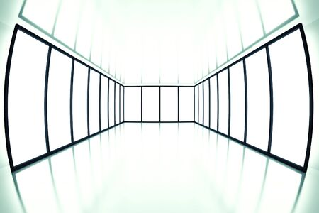 fish eye view on modern empty room with light from windows Stock Photo