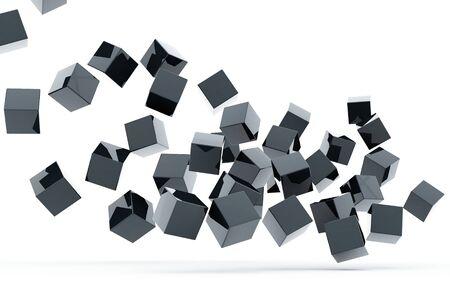 Falling and hitting gray metallic cubes on a white background Standard-Bild