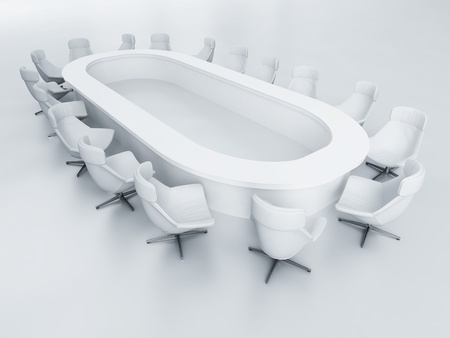 business armchairs and a table to a modern meeting room Standard-Bild