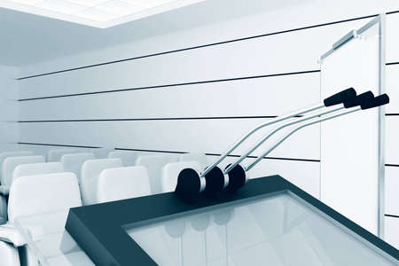 Microphones and visual board in modern conference room