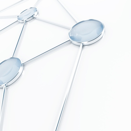 Abstract bases connected together on a white background