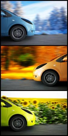 high speed car on a background seasonal landscape