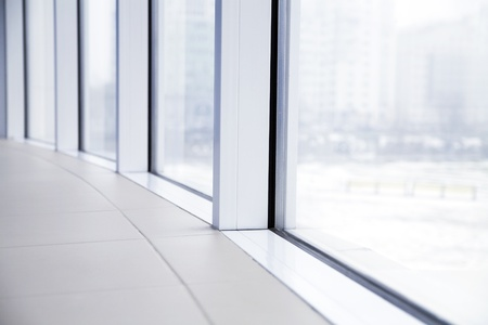 empty light big hall with glass windows