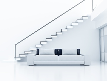 Interior in light tones with a sofa and a ladder on the second floor