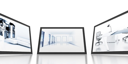 Set of monitors with static colourful and bright images