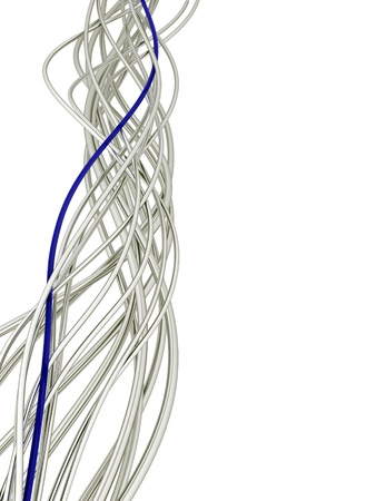 bright metallic fibre-optical blue and white cables on a white background Standard-Bild