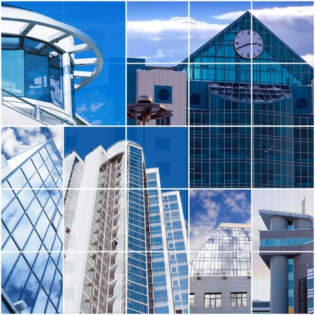 modern office buildings from glass and metal