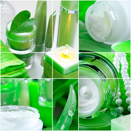 Spa ingredients and plants in tones of green