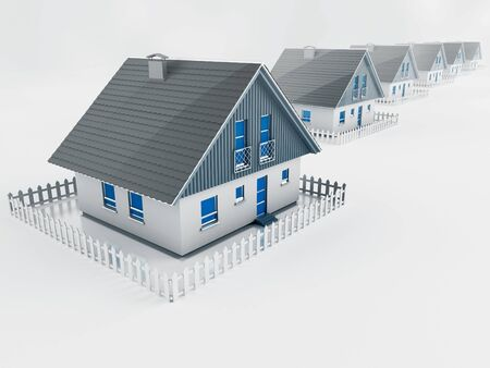 empty suburban street with houses standing in a row Stock Photo - 15428260