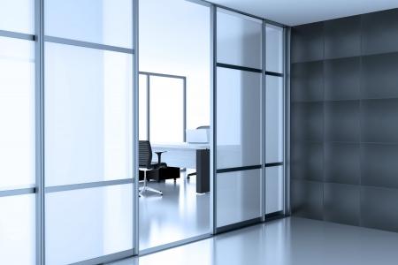 vidrio abierto puertas coupe en el cubículo vacío