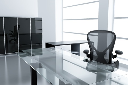 Lumière cabine moderne avec une table et un fauteuil dans un temps hors