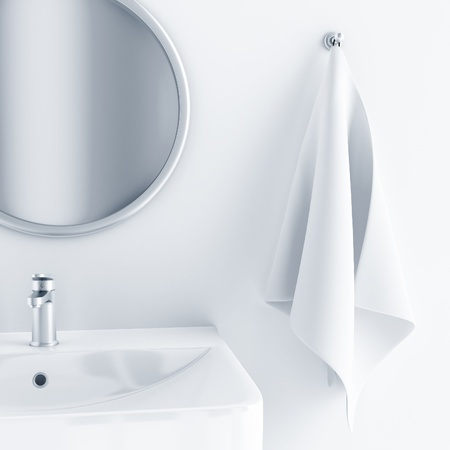 bathroom interior in light colors with a sink and mirror and towel Standard-Bild