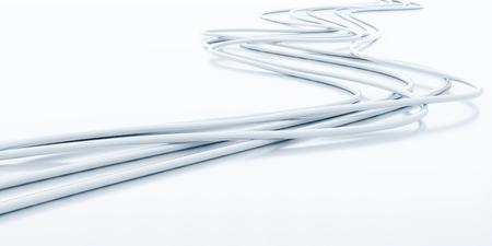 bright fibre-optical cables on a white background Standard-Bild