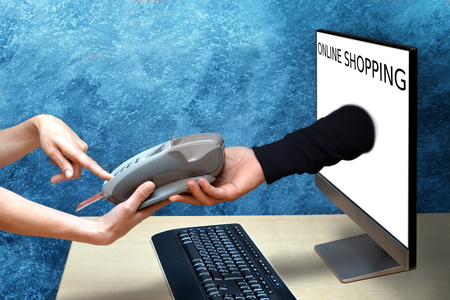 woman online shopping and pay with credit card