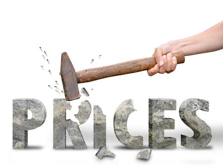 vrouw breken de prijzen voor beste aanbod tijdens het winkelen tijd Stockfoto
