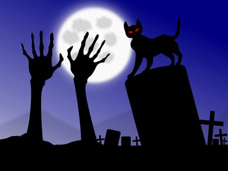 nosferatu: halloween zombie rising near black cat